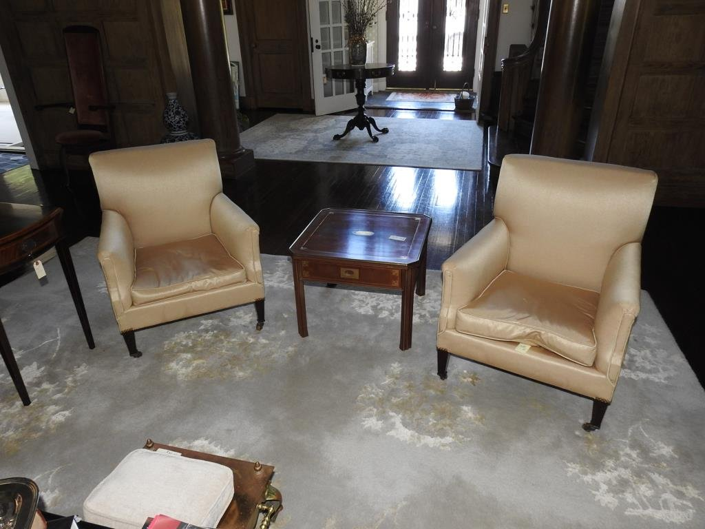 Pair Of Regency Style Lounge Chairs