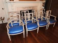 Eight Louis XVI Style Arm Chairs
