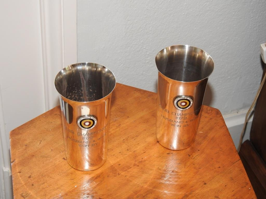 Pair Of Sterling Silver Trophy Tumblers