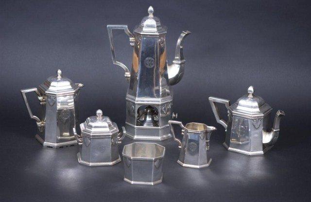 211: 6 PC. Rare French Silver Tea Set