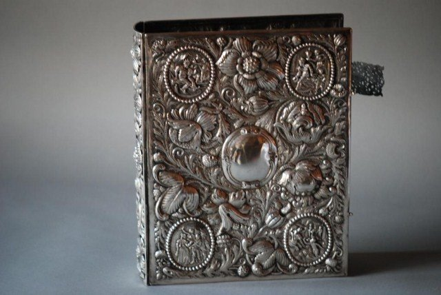 85: ANTIQUE CONTINENTAL SILVER BOOK COVER