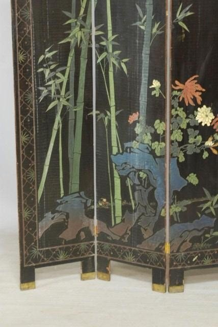 9: ANTIQUE CHINESE 4-PANEL SCREEN - 10