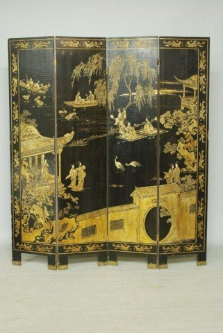 9: ANTIQUE CHINESE 4-PANEL SCREEN
