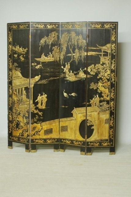 9: ANTIQUE CHINESE 4-PANEL SCREEN - 2