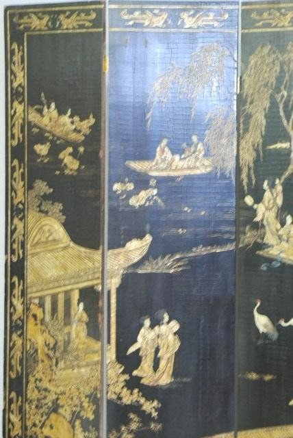 9: ANTIQUE CHINESE 4-PANEL SCREEN - 3