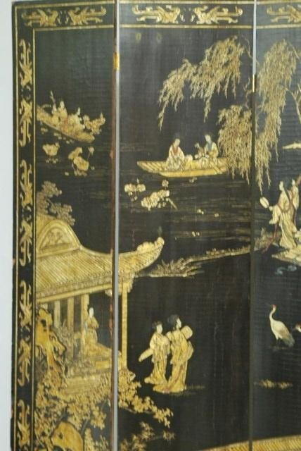 9: ANTIQUE CHINESE 4-PANEL SCREEN - 4