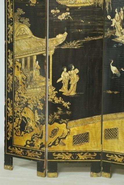9: ANTIQUE CHINESE 4-PANEL SCREEN - 5