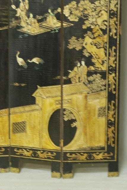 9: ANTIQUE CHINESE 4-PANEL SCREEN - 7