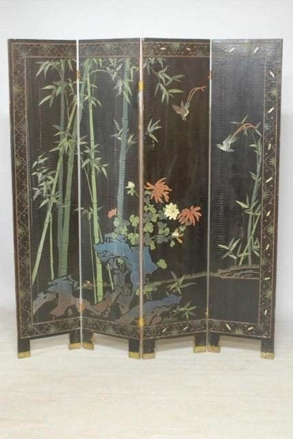 9: ANTIQUE CHINESE 4-PANEL SCREEN - 8
