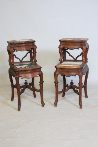 13: PR.ANTIQUE CHINESE HARDWOOD TIERED TABLES