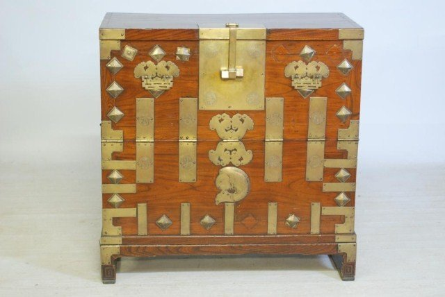 15: ANTIQUE CHINESE DROP-FRONT CHEST