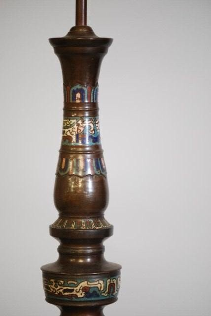 34: ANTIQUE CHAMPLEVE LAMP - 2