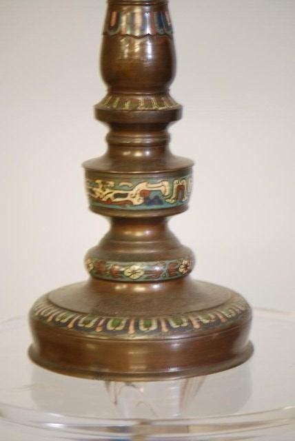 34: ANTIQUE CHAMPLEVE LAMP - 3