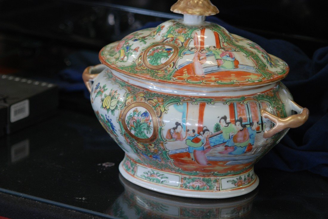 21A: ANTIQUE ROSE MEDALLION COVERED TUREEN
