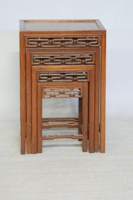 2: NEST OF 4-CHINESE HARDWOOD TABLES