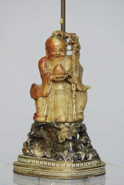 3: ANTIQUE CHINESE CARVED SOAPSTONE WISEMAN LAMP