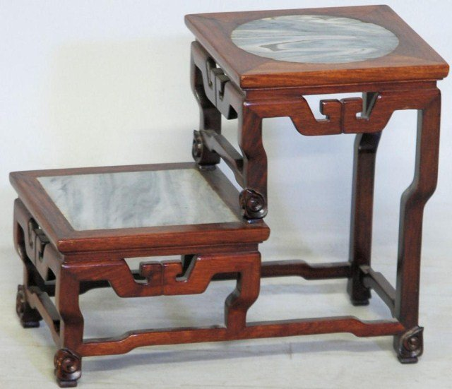 4: CHINESE HARDWOOD DIMINUTIVE 2-TIER STAND