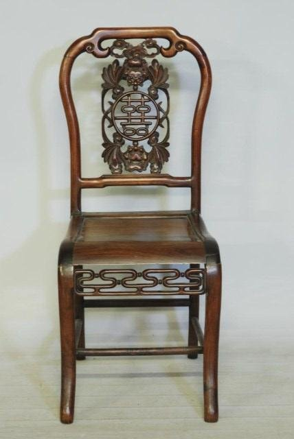 8: ANTIQUE CHINESE HARDWOOD CHAIR
