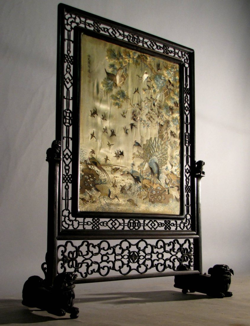 16: ANTIQUE CHINESE HARDWOOD TABLE SCREEN