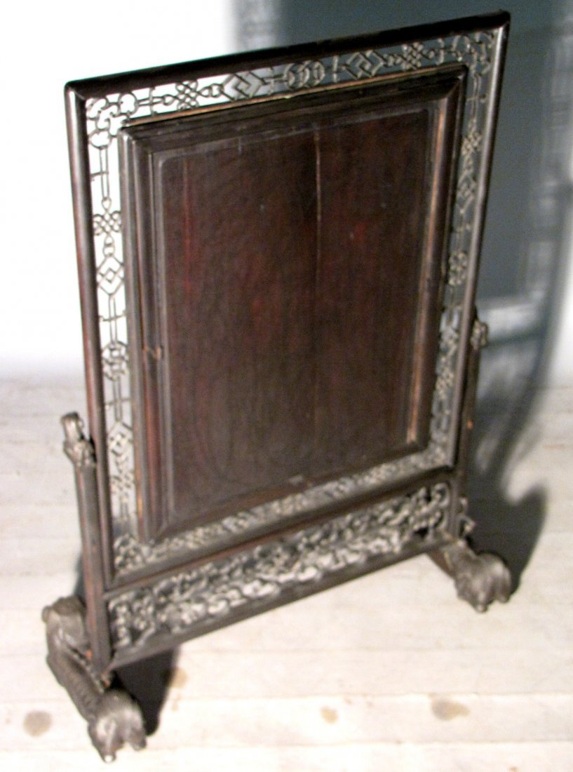 16: ANTIQUE CHINESE HARDWOOD TABLE SCREEN - 6