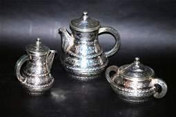 3 Pc Middle Eastern Silver Tea Set