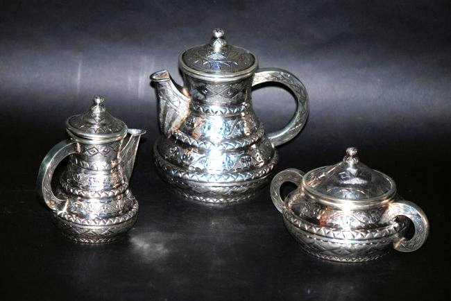 3 Pc. Middle Eastern Silver Tea Set