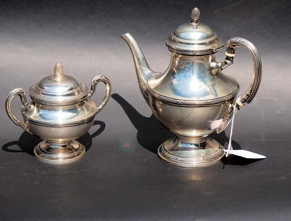 2 Piece Continental Silver Tea Set