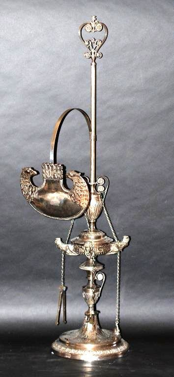 Antique Italian Silver Oil Lamp