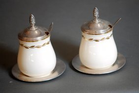 Pair Of Lenox China Marmalade Jars