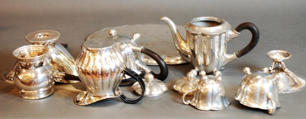 9 Pc Lot Danish Vintage/Modern Style Pewter & S.P. - 2