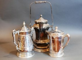 Lot Of 3 Victorian S.p. Hot Water Pitchers