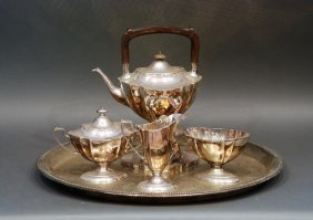 4 Pc Gorham S.p. Tea Set W/ Serving Tray