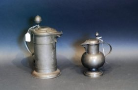 Lot Of 2 German Pewter Flagon Pitcher Tankards
