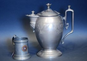 Lot Of 2 Pcs 19thc American Pewter Tableware