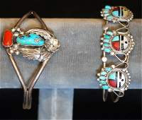 Lot of 2 Native Amer Indian SS Cuff Bracelets
