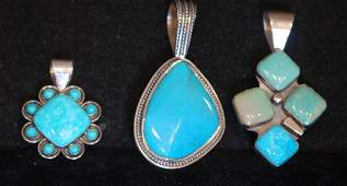 Lot of 3 Native Amer. Indian Style S.S. Pendants