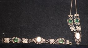 Gold Wash Over Filigree Silver Bracelet & Necklace