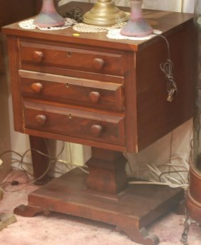 Antique American Empire Sewing Table