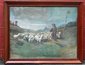 "Oil Painting ""sheep Herder"" M.t.d. Zane 1911"