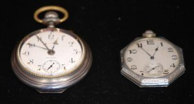 Lot Of 2 Ant. & Vintage Open Face Pocket Watches
