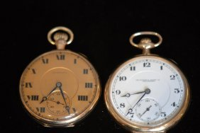 Lot Of 2 Antique Open Face Pocket Watches