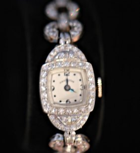 Vintage Hamilton Platinum & Diamond Ladies Watch