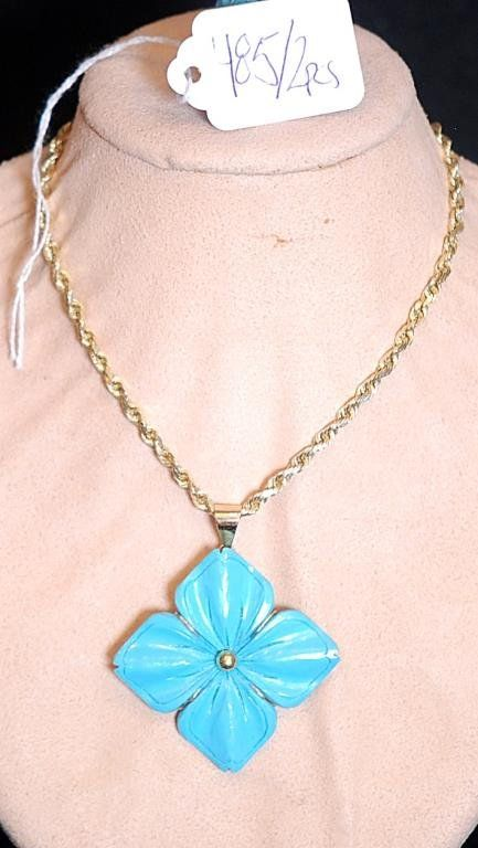 Vintage 14K Ladies Turquoise Ring and Pendant