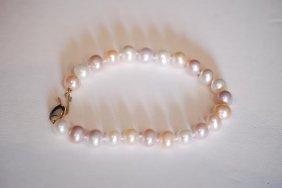 """Vintage 7"""" Two-tone Cultured Pearl Ladies Bracelet"""