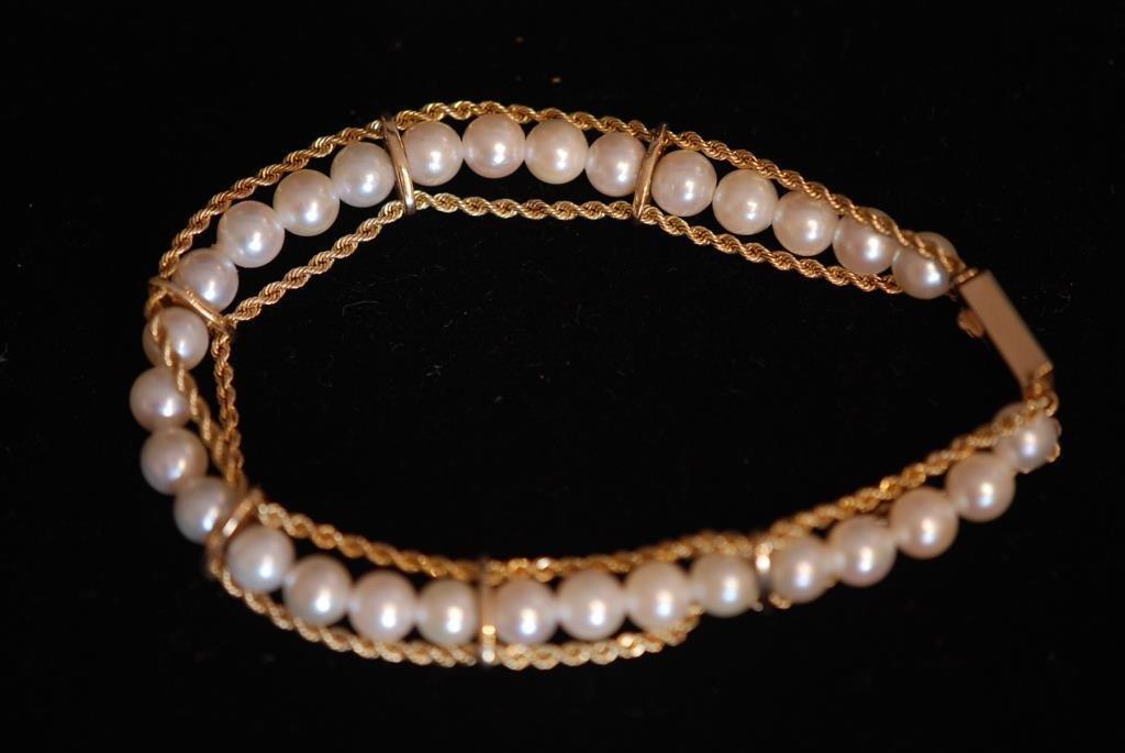 Vintage 14K Cultured Pearl Ladies' Bracelet