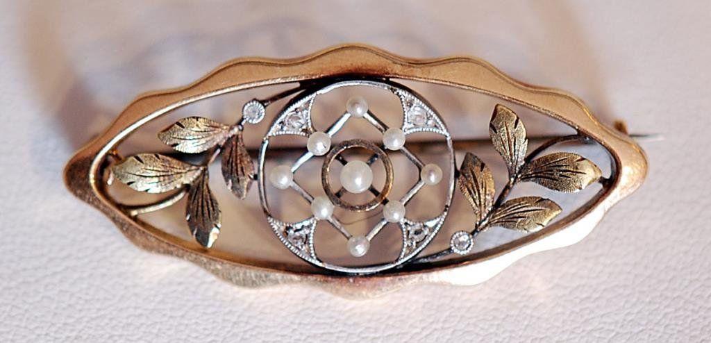 Victorian Era 14K Ladies' Pin with Diamond Chips