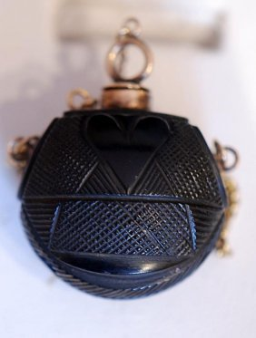 Carved Gutta Percha Ladies' Scent Bottle/pendant