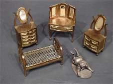 5 Pc Miniature Brass Furniture Set