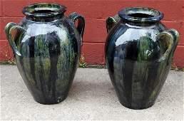 2 Italian Glazed Pottery Garden Urns