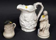 Lot of 3 Pcs. of Antique English Parian Ware